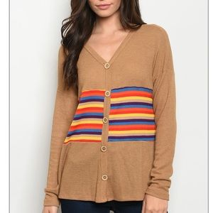 Camel + rainbow button detail waffle tunic top.